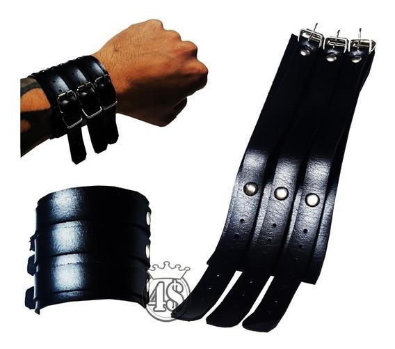 Pulseira Bracelete Couro 3 Fivelas Johnny Punk Rock Preta