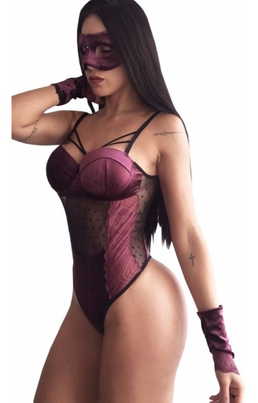Body Em Veludo Strappy Bordô + Máscara E Luvas