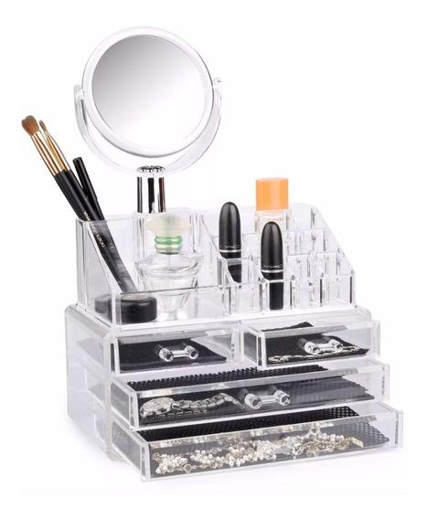 Organizador Maquillaje Cosmetico 4 Cajones Y Espejo Acrilico