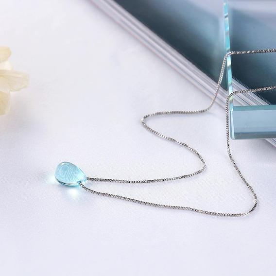 Colar De Prata - Pingente Azul Cristal Formato Gota De Água