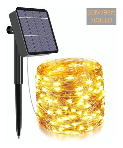 Imagen 1 de 10 de 300led/30m Tira De Luces Led Solares Luz Cadena Luces Ip65