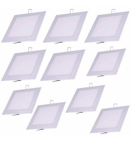 Kit 10 Painel Plafon Led Quadrado Embutir Quente 18w
