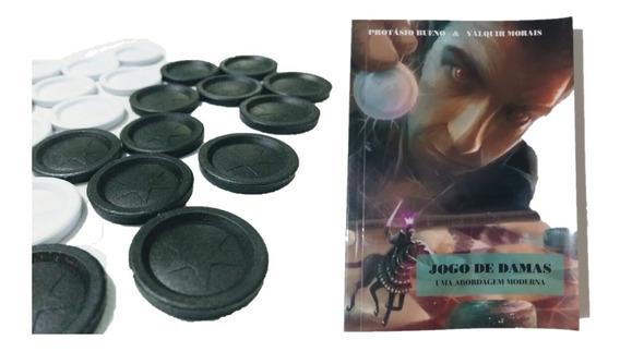 Kit Jogos De Fichas De Damas E Trilha + Livro Jogo De Damas
