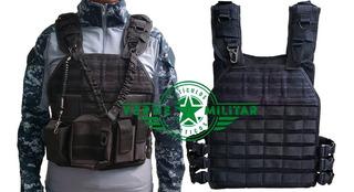 Chaleco Táctico Militar Policíaco Porta Placas Balística Gratis Porta Fusil Recuperador De Arma Y Porta Cargadores Molle