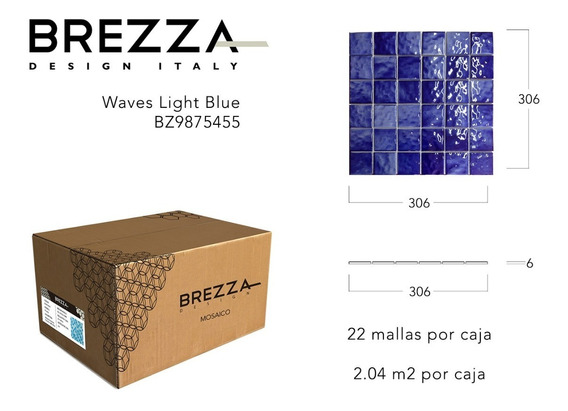 Caja De Mosaico Piscina Waves Dark Blue Brezza