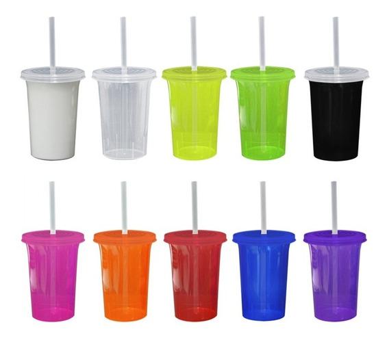 Vaso Con Tapa Y Popote Colores Fluorescentes Neón 500ml