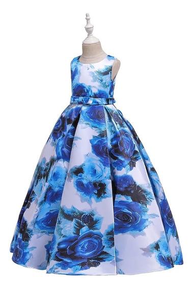 Vestido Niña Fiesta Largo/ceremonia/boda/azul Floreado
