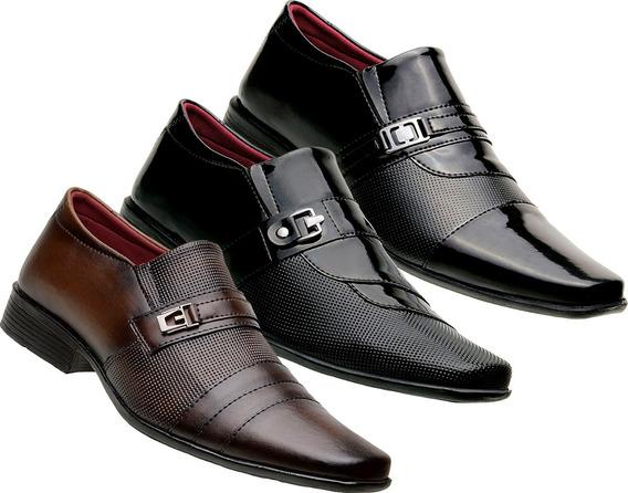 3 Pares De Sapato Verniz Social Masculino Luxo Italiano A