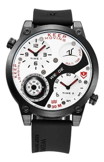 Relógio Masculino Weide Analógico Uv-1505 Preto E Branco