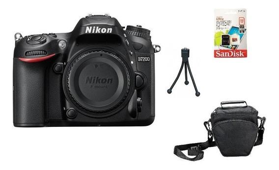 Corpo Nikon D7200 Fullhd Wi-fi + 32gb + Bolsa + Tripé Sjuros
