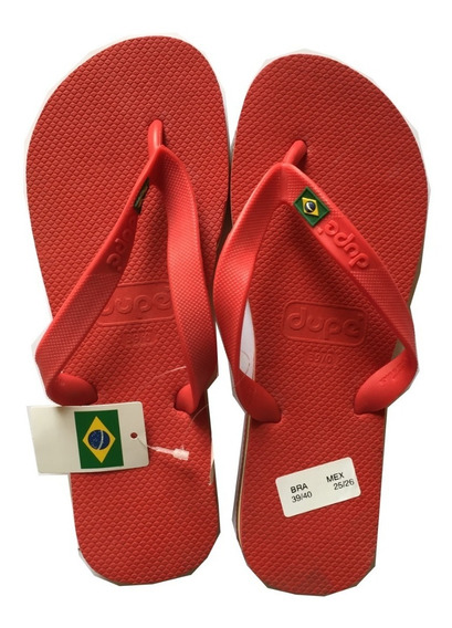 Sandalias Hombre Brasileñas Playa Dupe 2090 Brasil Rojo