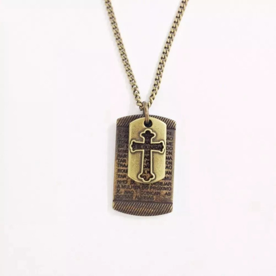Colar Masculino Corrente 10 Mandamentos Crucifixo