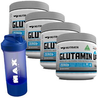 4x Glutamina Glutamin Up Nutrata 150g + Shaker Dupla