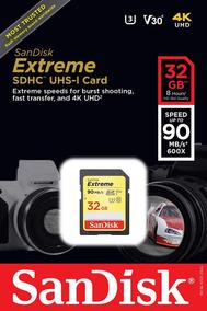 Sd Sdhc Extreme 32gb 90mbs V30 U3 4k Original Lacrado