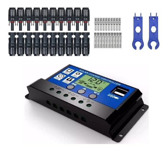 Kit 10 Par Conector Mc4+ 2 Chaves + Controlador Pwm 30a