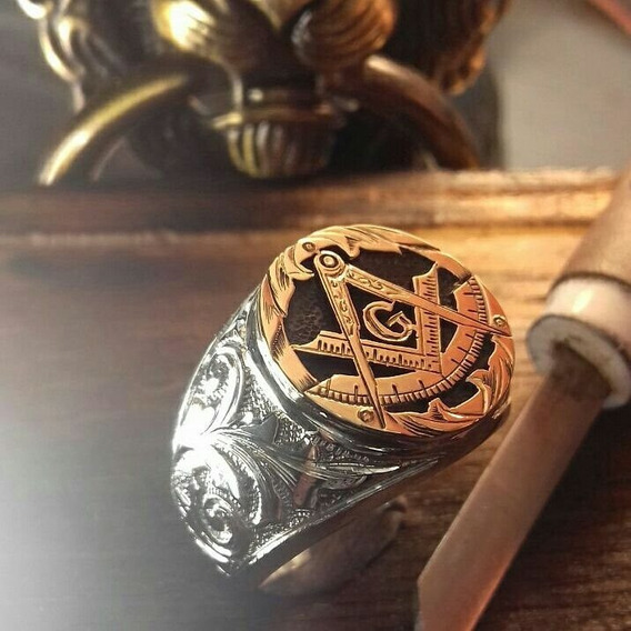 Anel Maçonaria Prata950 E Ouro18k