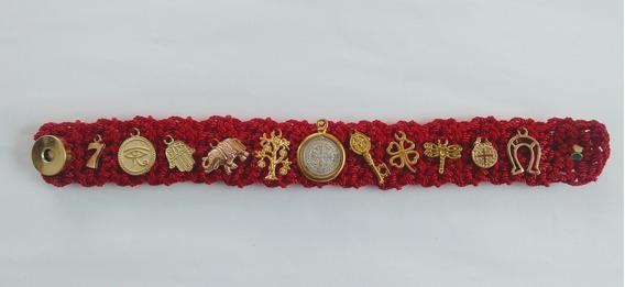 Brazalete Pulsera De La Abundancia Tejida Medalla San Benito