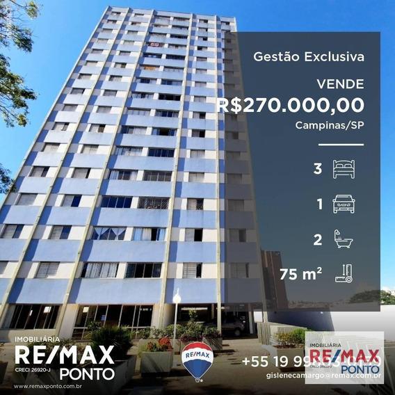 Apartamento Com 3 Dormitórios À Venda, 75 M² Por R$ 270.000,00 - Bosque - Campinas/sp - Ap0033