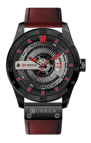 Relógio Masculino Curren 8301 Pulseira Vinho Estilo C/ N F