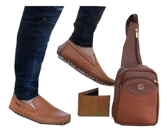 Zapatos Mocasín Caballero Y Bolso Excelente Calidad