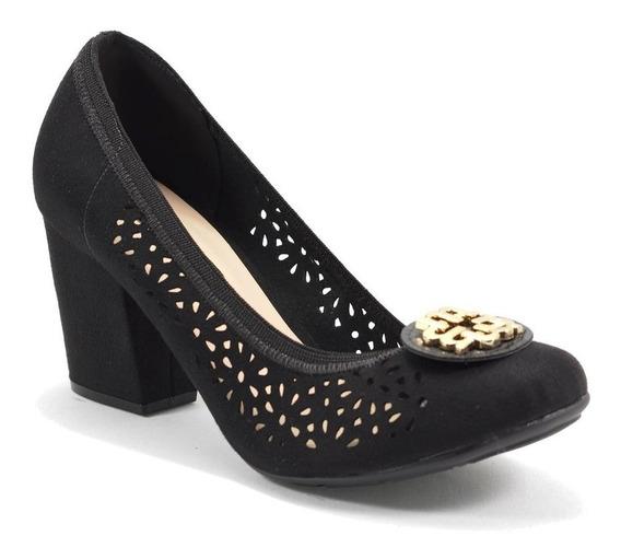 Sapato Feminino Camurça Flex Perfurado Preto Moleca