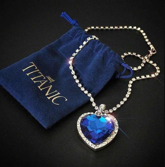 Collar Corazón Azul Titatic Amor Por Siempre Envío Exprés