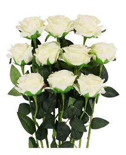 Flores Artificiales Rosas Blancas Ramo Bodas Adornos Fiestas