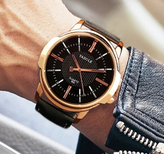 Relógio De Pulso Yazole Masculino Original Couro Social Luxo