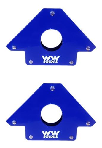 Imagem 1 de 8 de Kit Esquadro Magnetico Para Solda 02 Peças De 33kg Wwsoldas