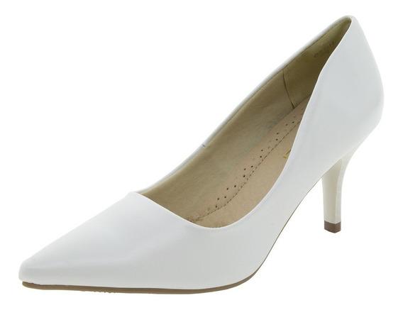Sapato Feminino Salto Médio Branco Facinelli - 62104