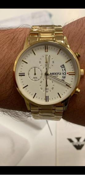 Relógio Masculino Nibosi 1985 Todo Funcional A Prova De Água