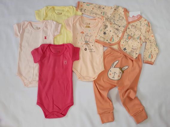 Roupa De Bebê Menina Kit Com 6 Peças Casaquinho Calça Body