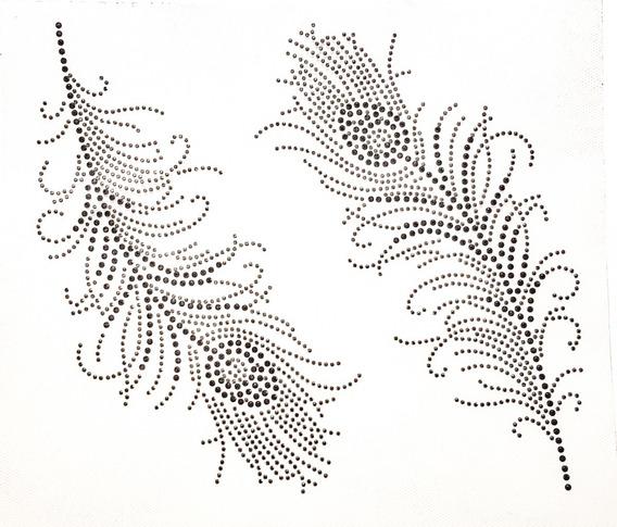 Plancha De Strass Termoadhesivo Plumas Delicadas Negras
