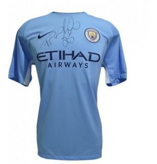 Camisa Manchester City Autografada Do Fernandinho