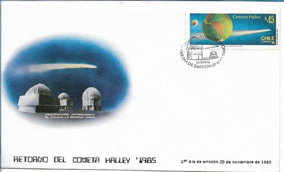 Chile Sobre Primer Dia Del Año 1985 Cometa Halley Filatelia