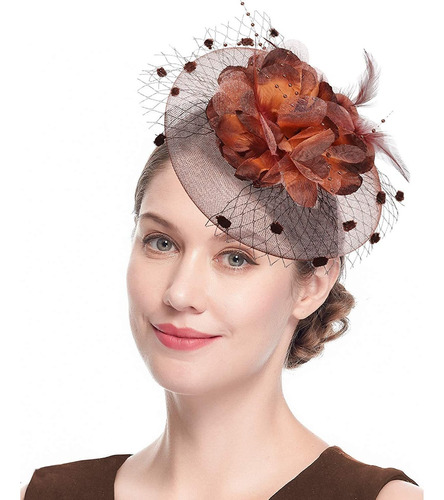 Tocado Sombreros Para Mujer De Los Años 50 Con Velo Flor Cóc