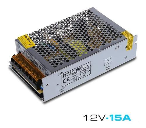 Imagen 1 de 10 de Fuente 12v 15a Metalica Regulada Switching Tira Led Cctv