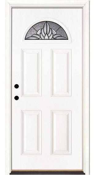 Puerta Entrada Moderna Fibra De Vidrio Americana Vitral Xv