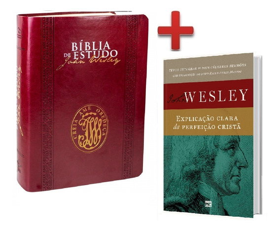 Bíblia De Estudo John Wesley Vinho + Livro John Wesley