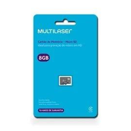 Kit 10 Cartão De Memória Classe 4 8gb Preto Multilaser