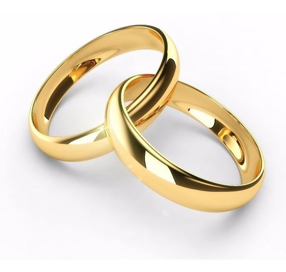 Par De Alianças Ouro 18k Banhada Casamento 4mm-promoção