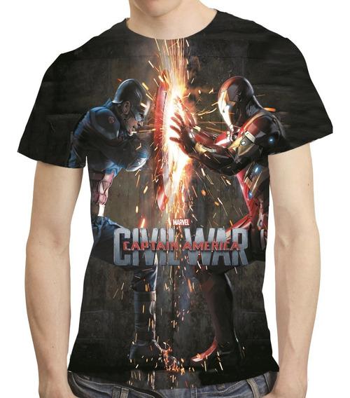 Camisa Guerra Civil Camiseta Capitão America Vingadores