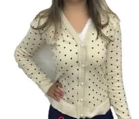 26690d5234 Blusa De Frio Feminina Cardigan Suéter Lã Trico Coração