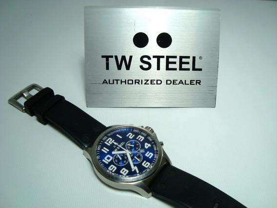 Reloj Tw Steel 100m Cronografo Calendario Acero Solido Caratula Azul