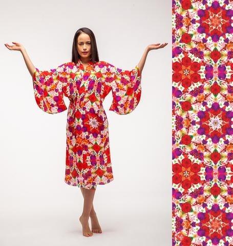 Kimono De Seda Diseño Mandala Casa Florecer