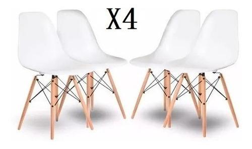 Sillas Eames X 4 Unidades, Comedor, Living, Blancas Modernas