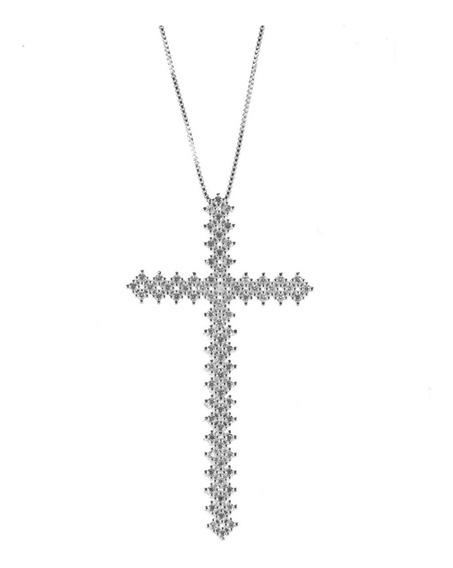 Colar Com Pingente De Crucifixo Cruz Maleável Semijóia Ródio