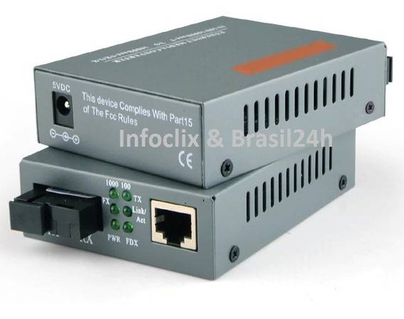 Conversor Mídia Giga Fibra Óptica 1000 Mbps 20 Km 1 Par A/b