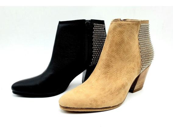 Botineta Bota Corta Taco Cuero Mujer Zapato Tachas 801jo
