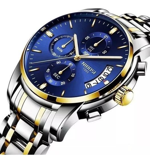 Relógio Masculino Nibosi Original Prata E Azul +frete Grátis